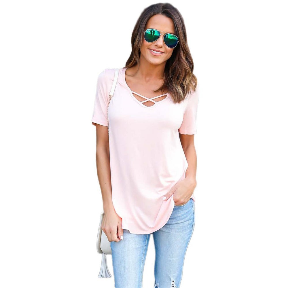 2017 Womens Brand Clothing Summer Women T Shirt Short Sleeve O-neck Casual Cotton Solid Color Tops Tees Female Ladies T-Shirt
