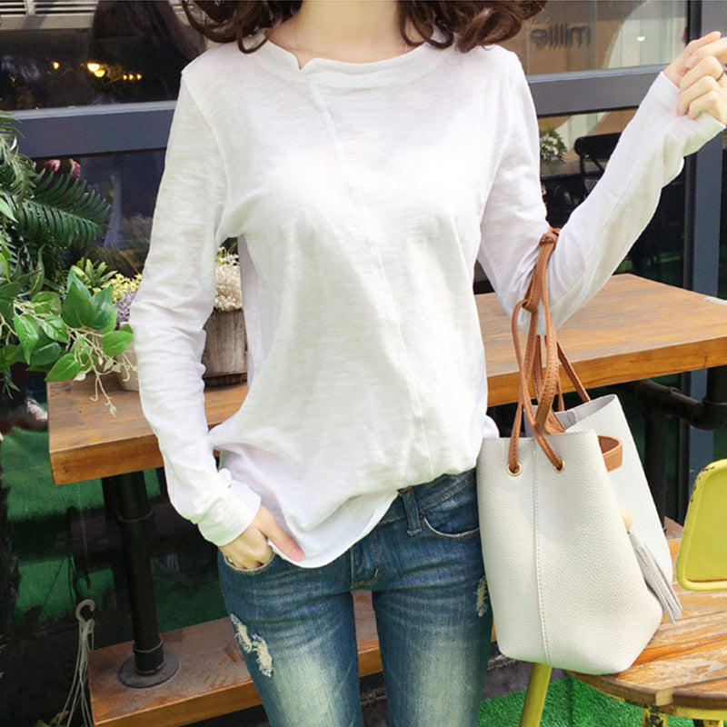 2018 Fashion bamboo cotton t shirt White black Women top Female t shirt Casual full Sleeves loose tshirt Solid top women