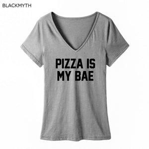 BLACKMYTH Hipster Women T-Shirt Casual PIZZA IS MY BAE Letter Print Short Sleeve Girls T shirts Cotton S-XXL