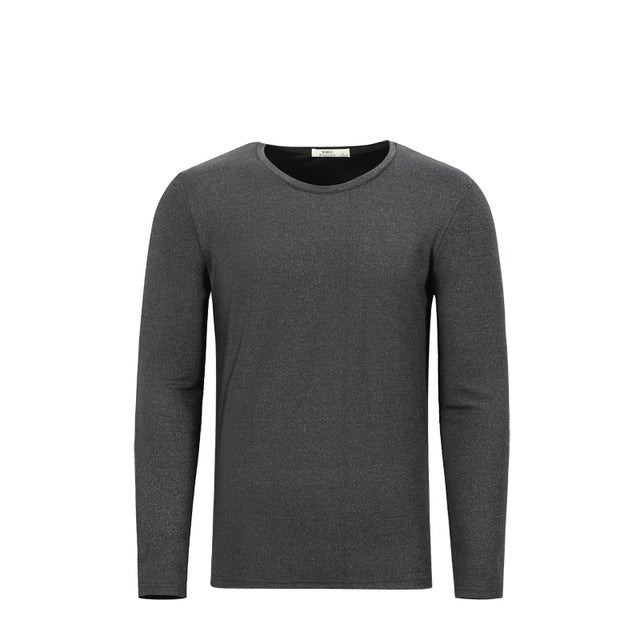 Enjeolon brand quality o neck long sleeve t shirt man cotton 2 color solid base Clothing Tops Tee free ship RST8066-1
