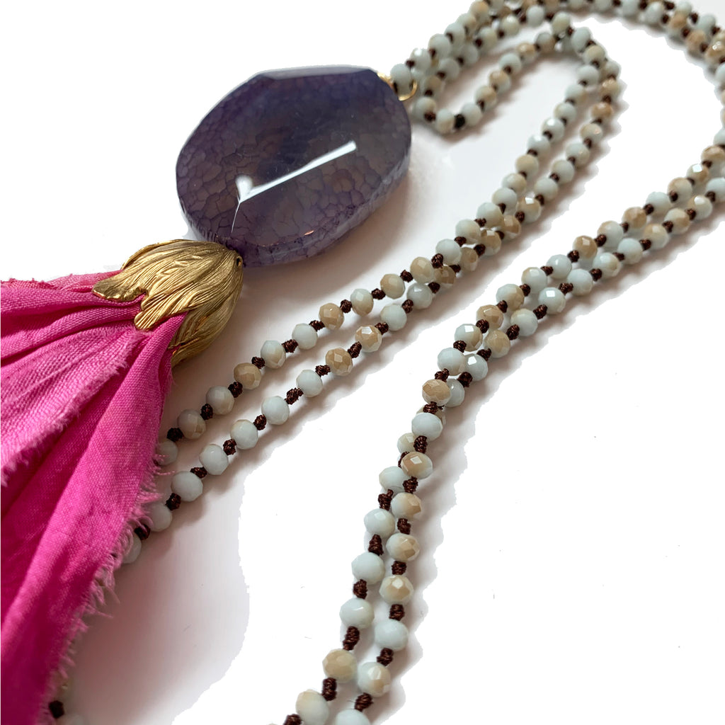no. 105 silk tassel necklace