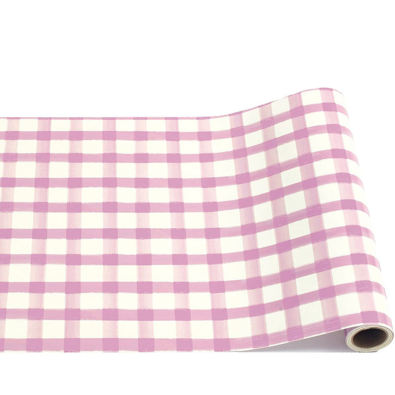 lilac painted check: paper table runner