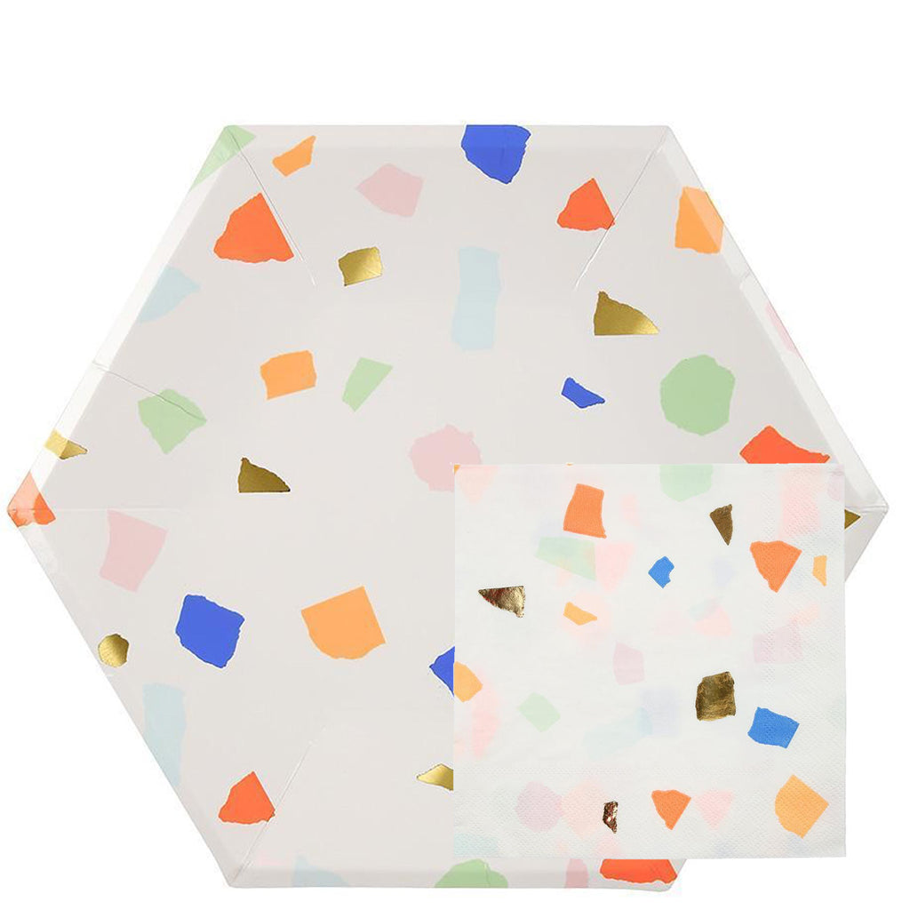 Bright Terrazzo paper party collection