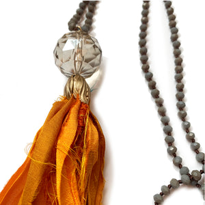 no. 120 silk tassel necklace