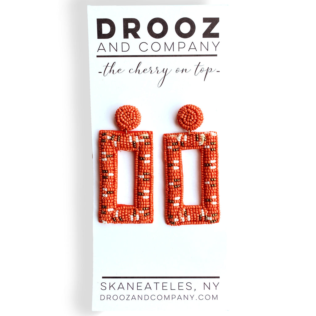 Orange Rectangular Beaded Earring- the cherry on top