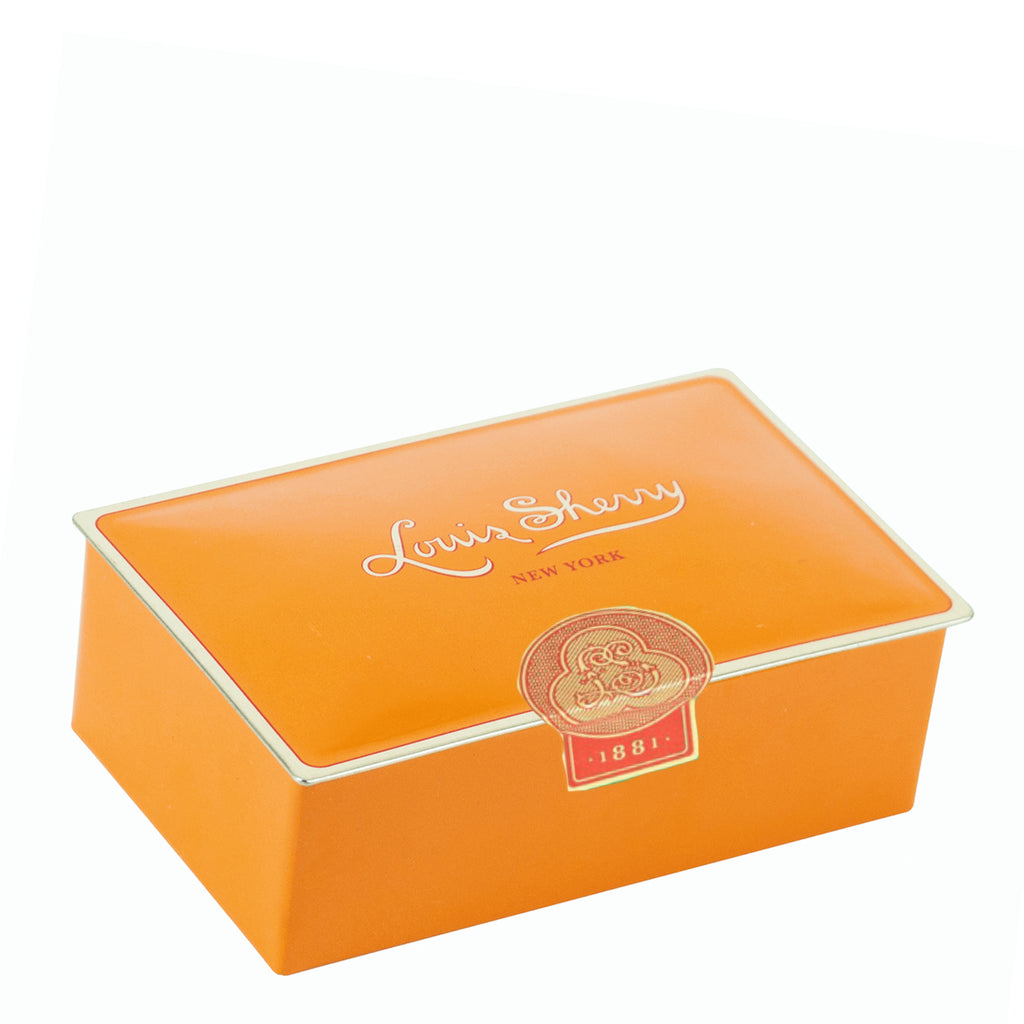 "2 piece tangerine   ""jewel box"" Chocolate Truffle Tin"