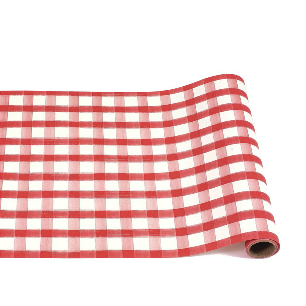 red  painted check : paper table runner