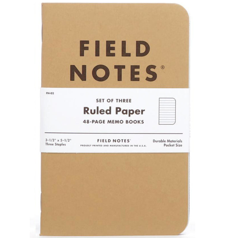 ruled FIELD NOTES: set (3)