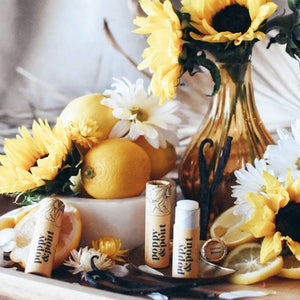 lemon bloom lip balm : poppy & pout