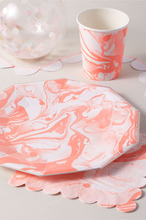 orange marbled paper party collection