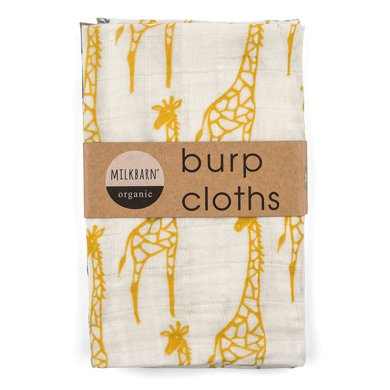 Yellow Giraffe Burp Cloths- Milkbarn