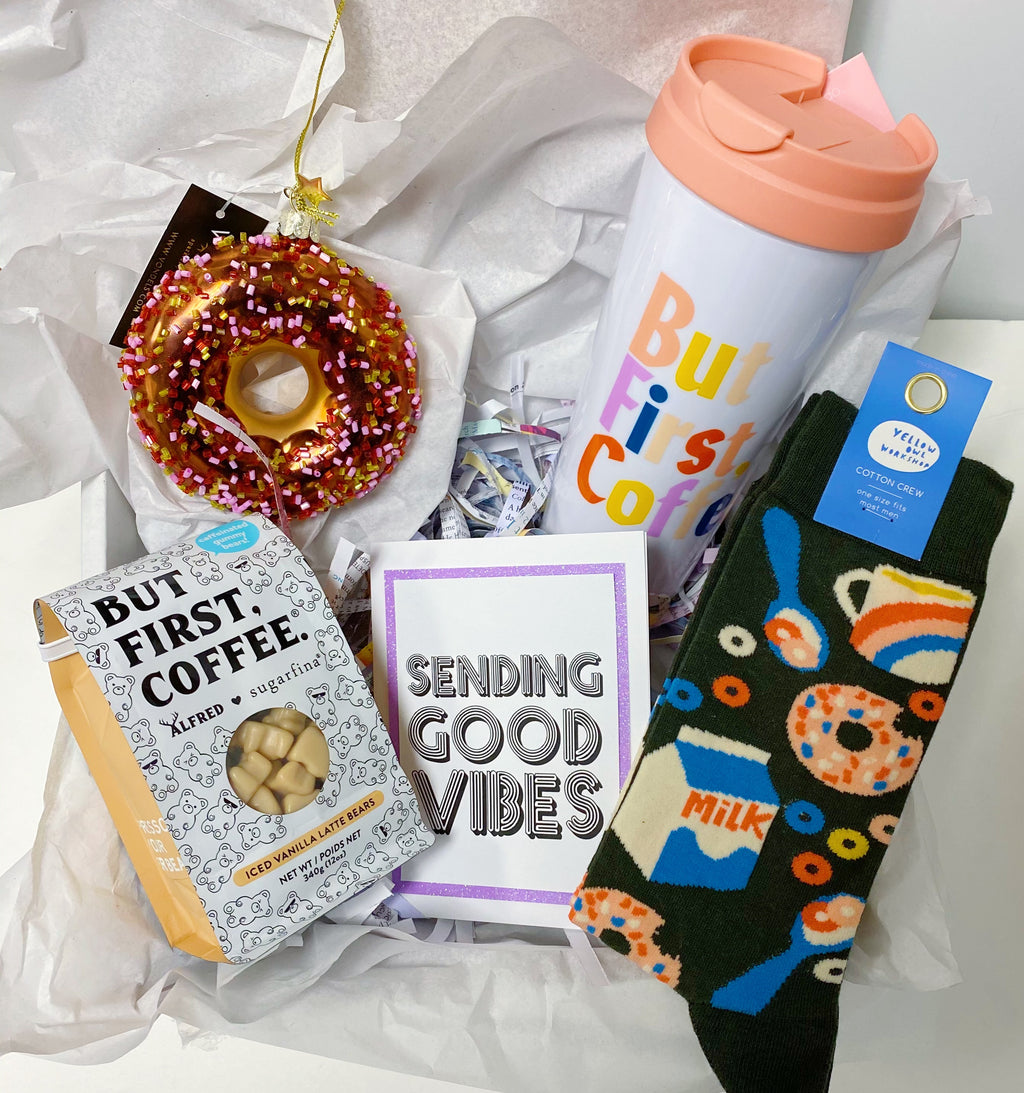 "Coffee and Donuts ""Sending Good Vibes"" Gift Box"