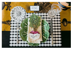 black + white check: paper placemats