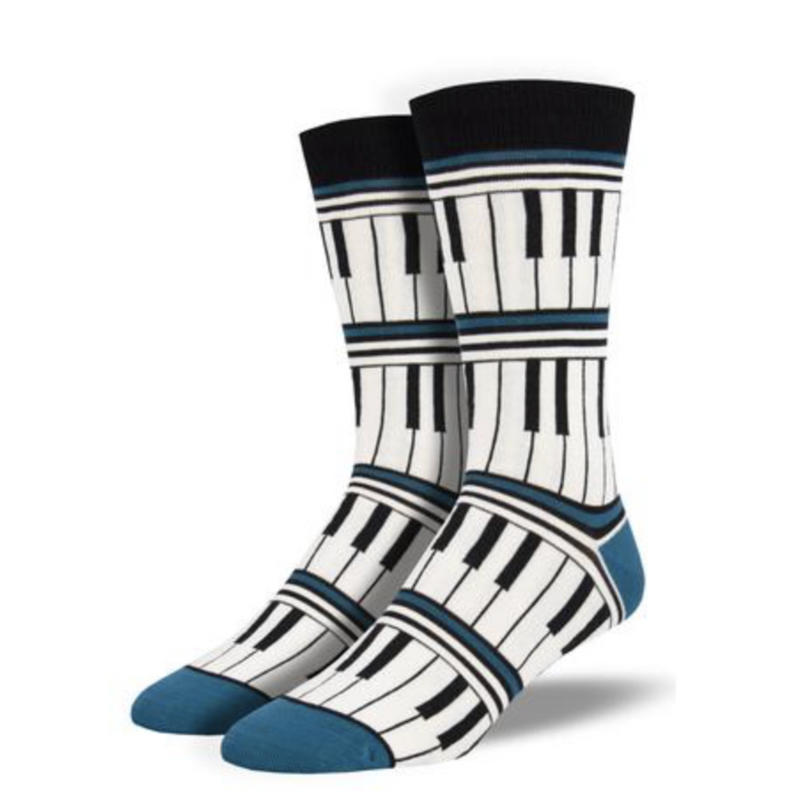 blue Piano Stripe Socks