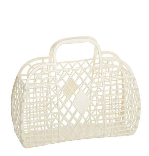 cream: large retro basket {Sun Jellies}