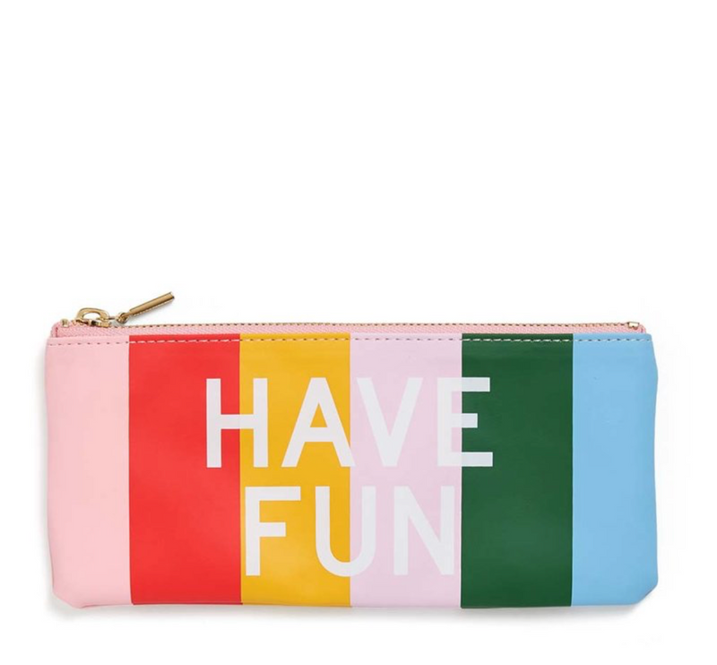 work hard/ have fun: zip  pouch