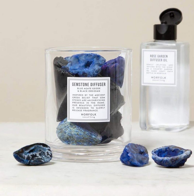 Gemstone Diffuser Blue Agate & Black Obsidian: Sea Salt Oil