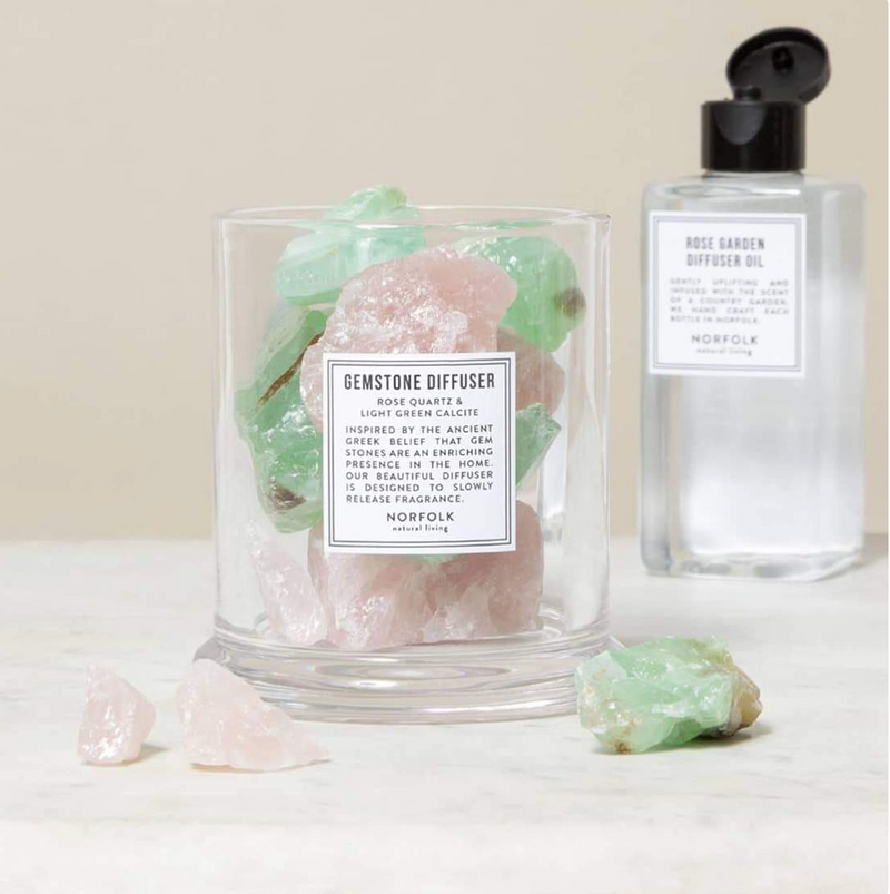 Gemstone Diffuser Rose Quartz & Light Green Calcite:  Rose Oil