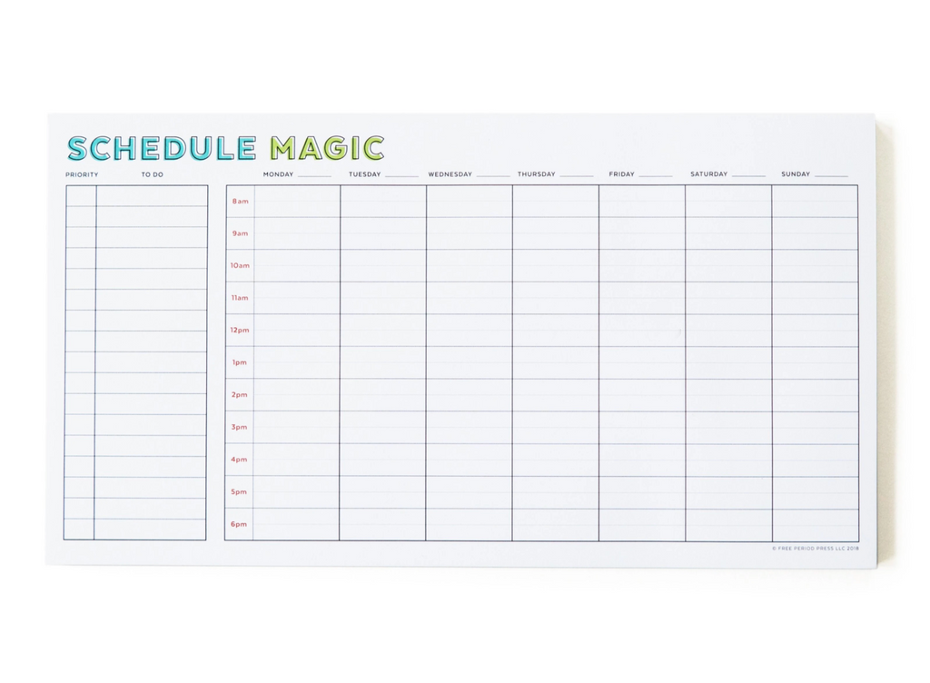 Weekly Schedule Magic Notepad planner