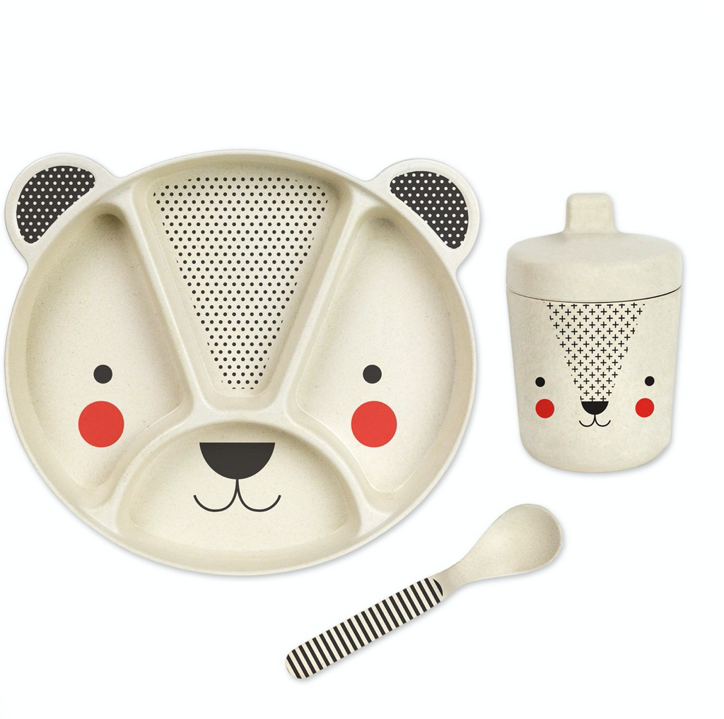 Petit Collage Bear Baby Bamboo Dinnerware Set