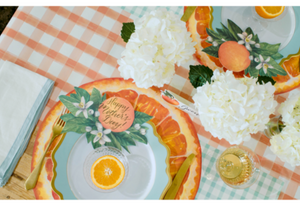 orange painted check : paper table runner