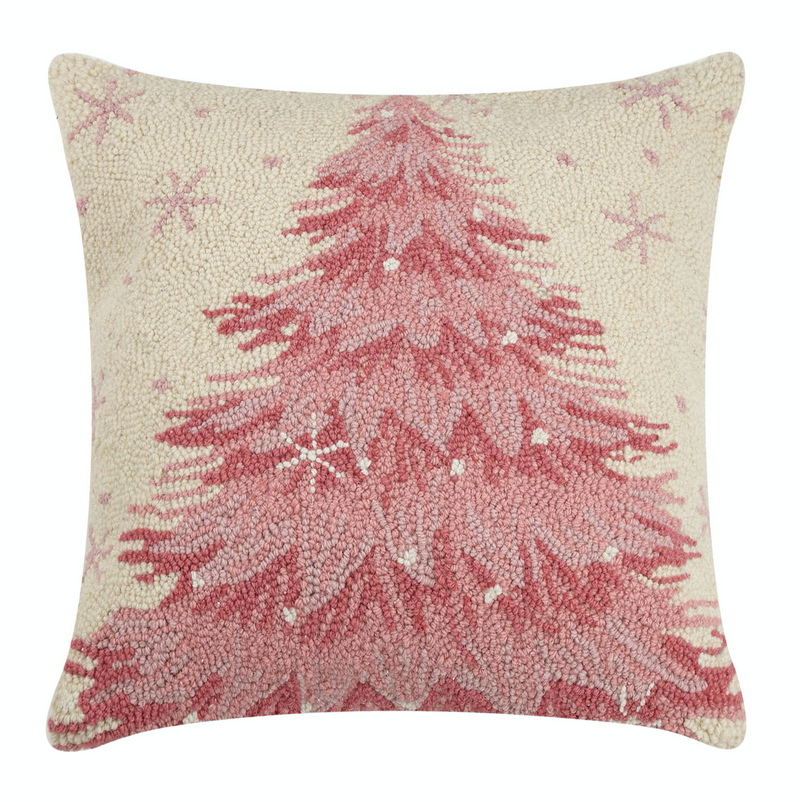 Pink Christmas Pillow: wool hooked