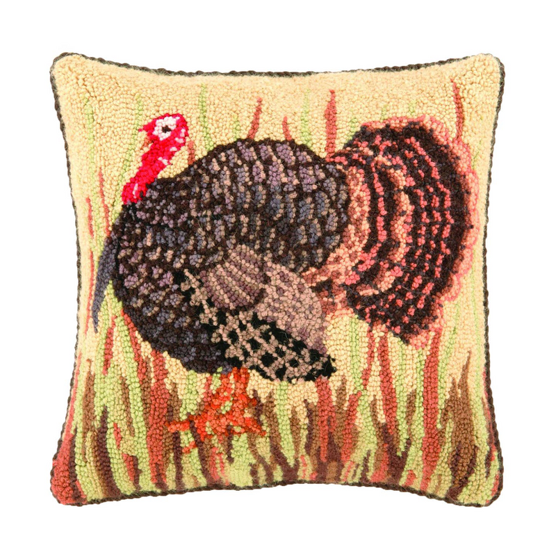turkey pillow wool hooked