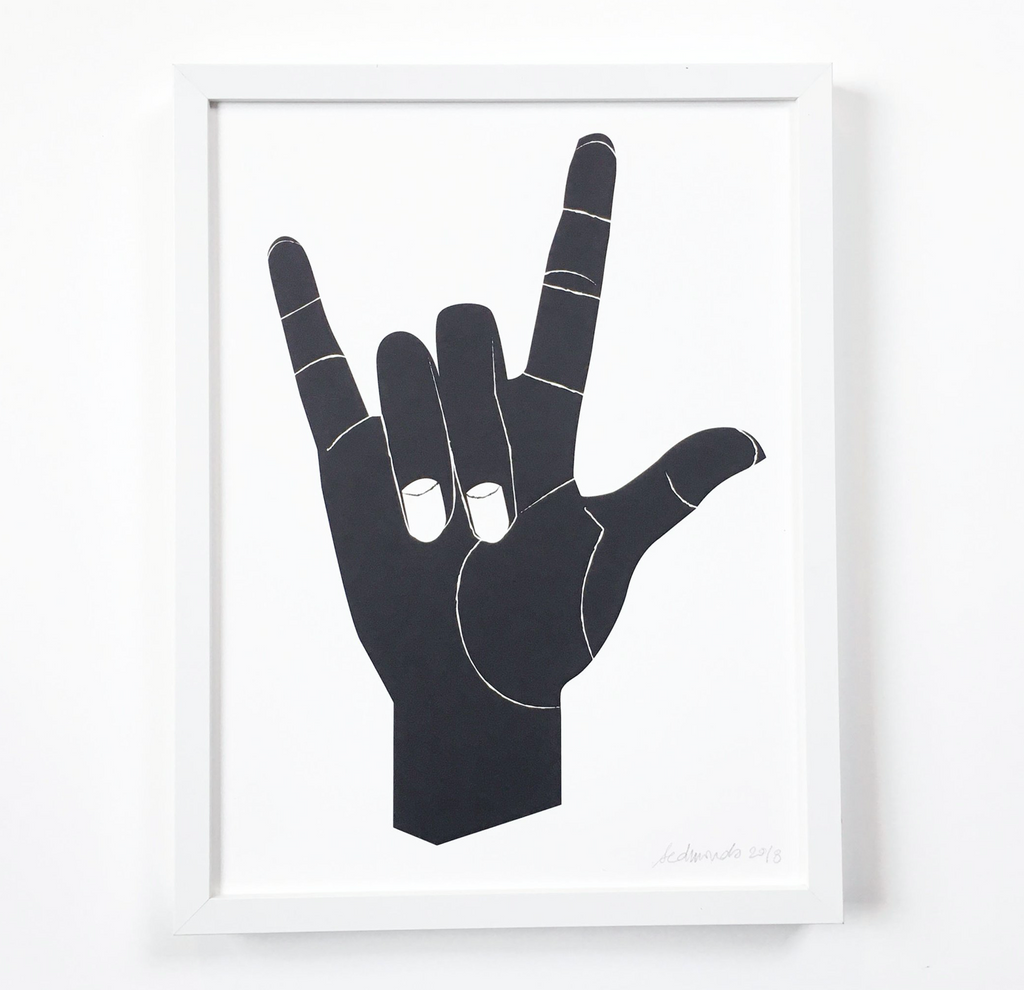 I Love You in American Sign Language Art Print - hand in black