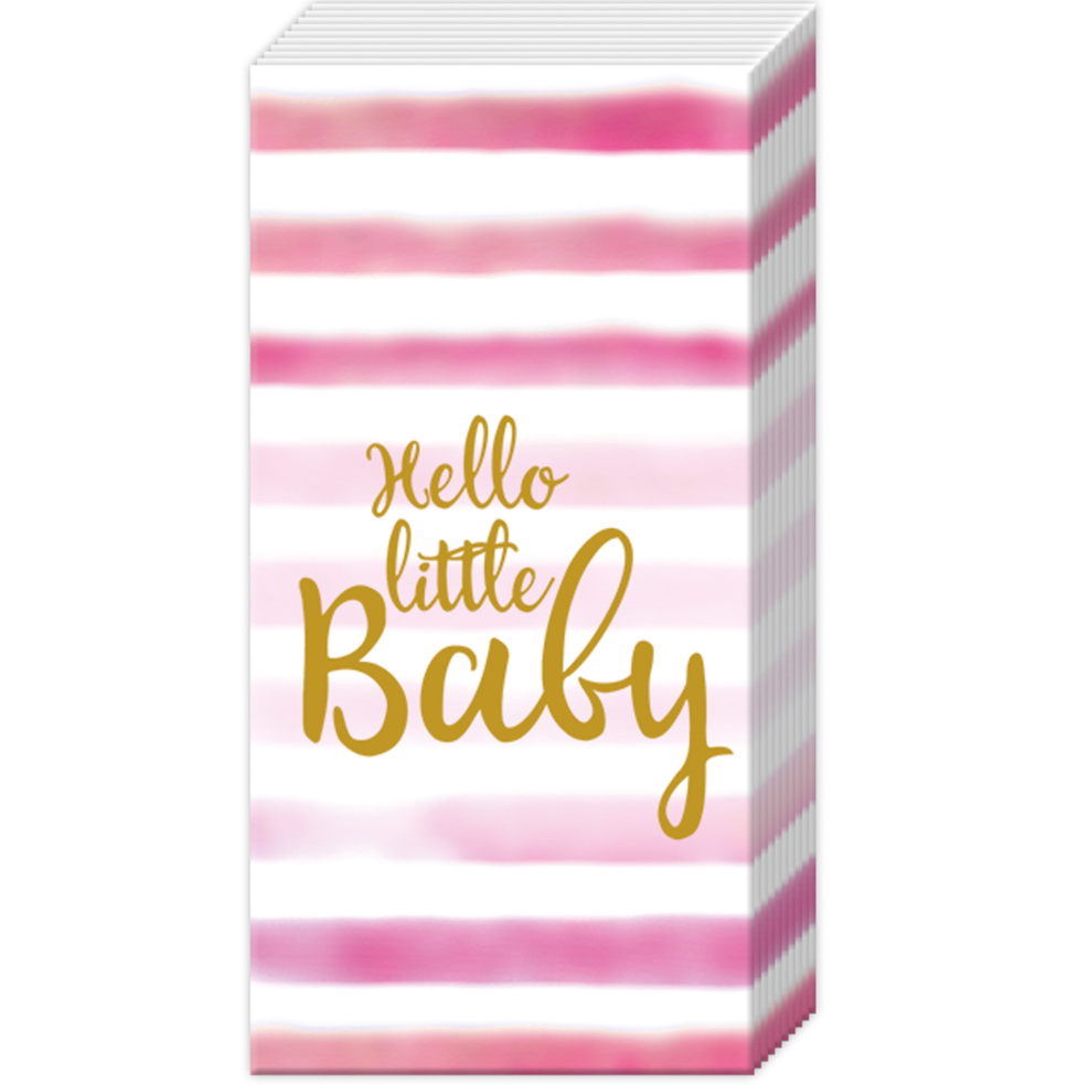 pink: Hello Little Baby pocket tissues