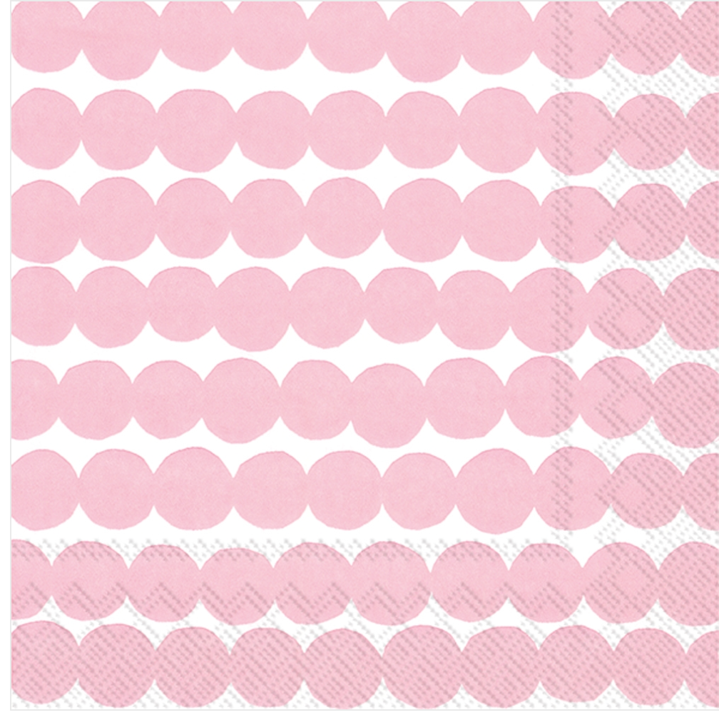 Rasymatto White/Rose Paper Cocktail Napkin:Marimekko