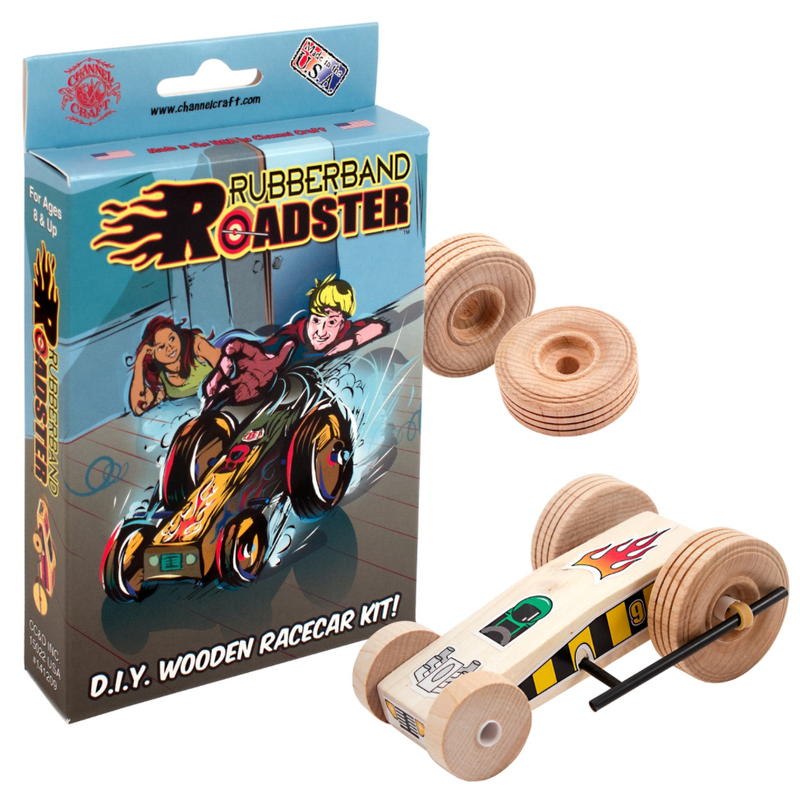Rubberband Roadster Wooden Racecar Kit