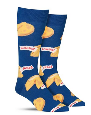 get lucky fortune cookie socks : Blue