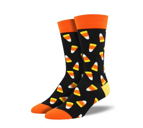 men's sock: candy corn