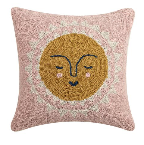 sun pillow - hooked wool