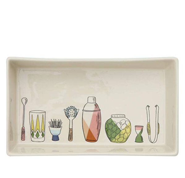 Stoneware Dish with Barware Icons