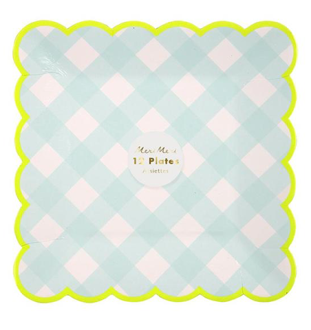 Blue Gingham Plates (small)