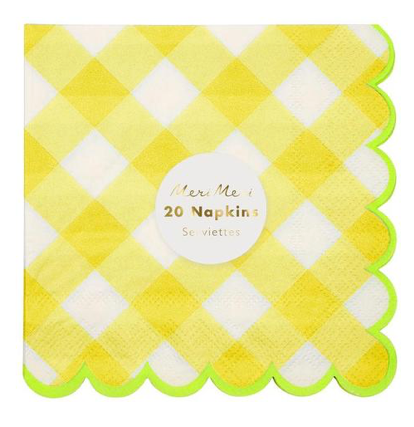 Yellow Gingham Small Napkins