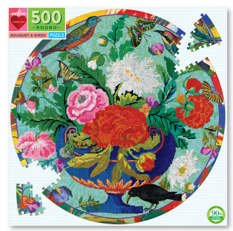 Birds & Bouquet round  puzzle