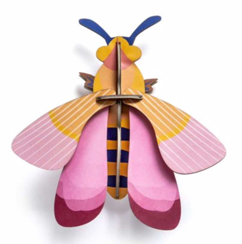little wonder: pink bee wall art KIT