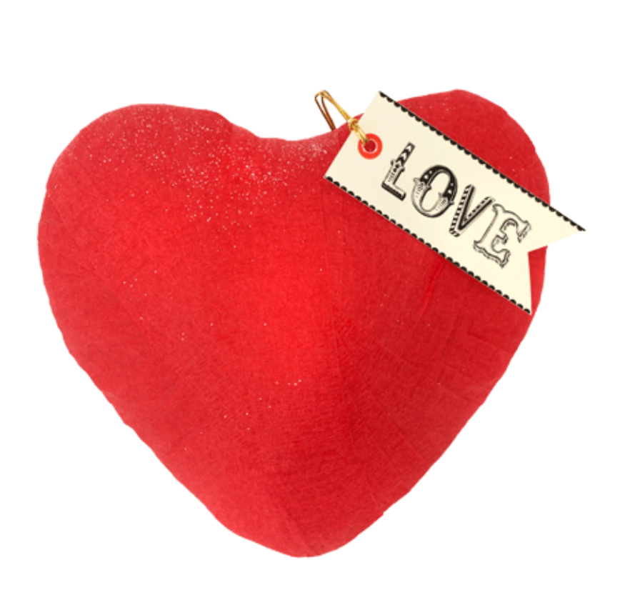 red LOVE heart shaped surprize ball
