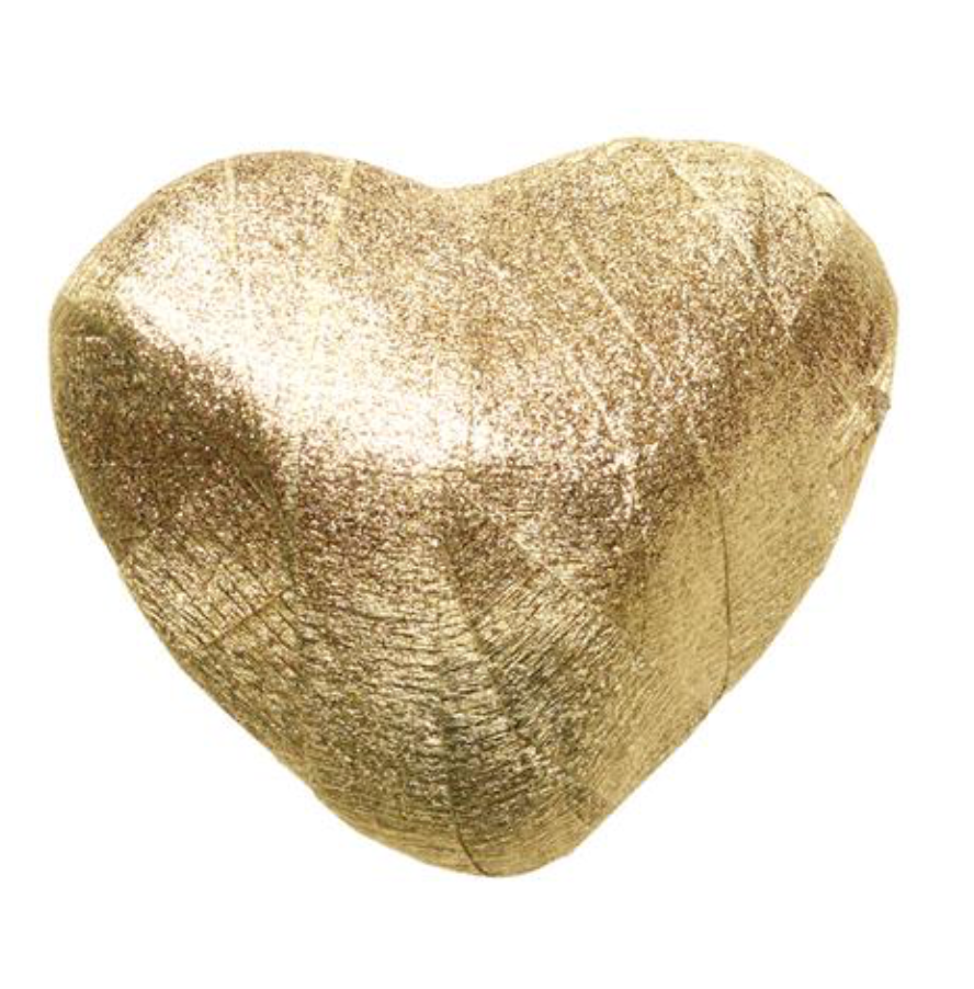 Gold heart shaped surprize ball