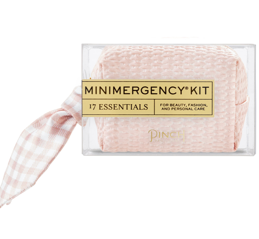 blush basketweave + scarf mini emergency kit