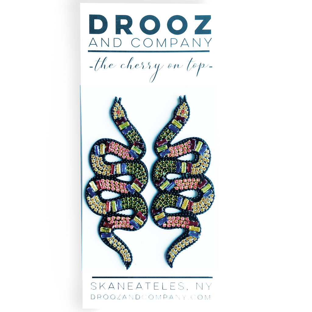 Multicolored Snake Earrings- the cherry on top