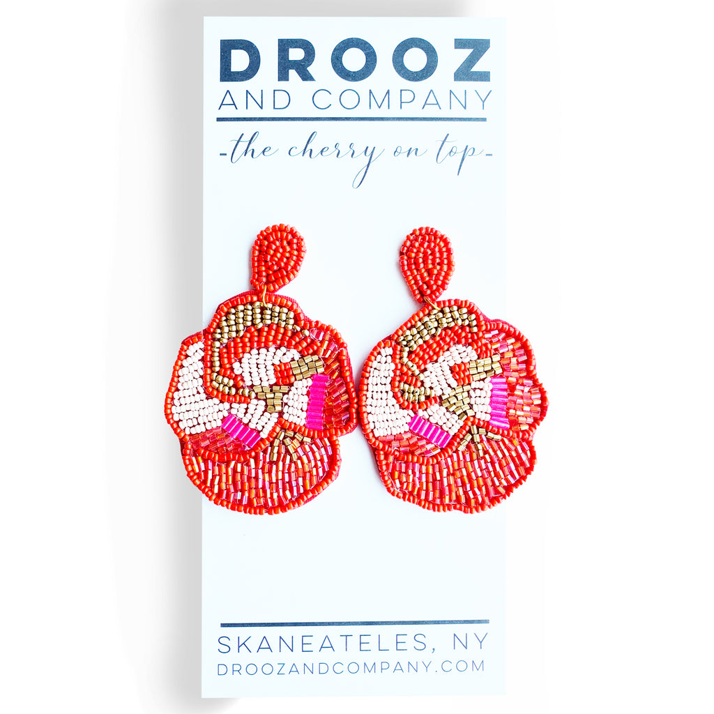 Floral Beaded Earring- the cherry on top