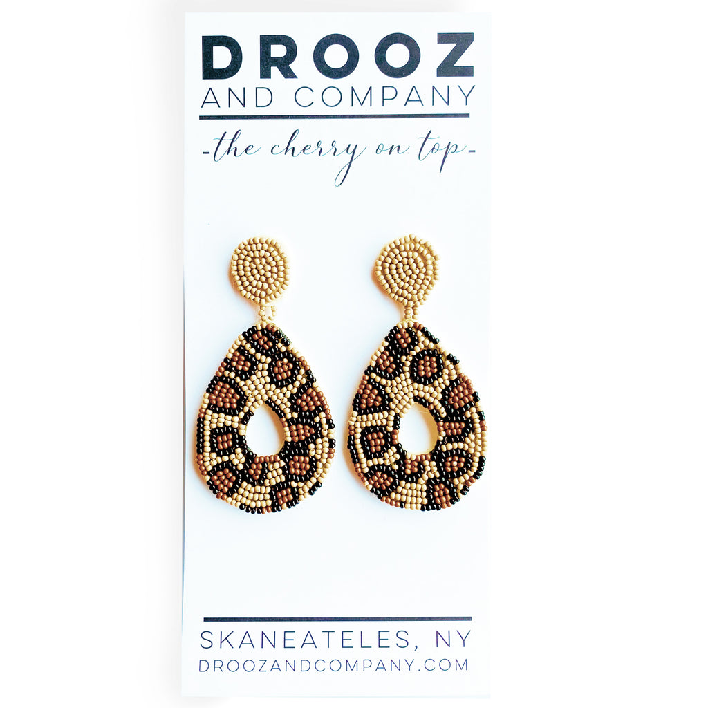 Tan Leopard Drop Earrings- the cherry on top