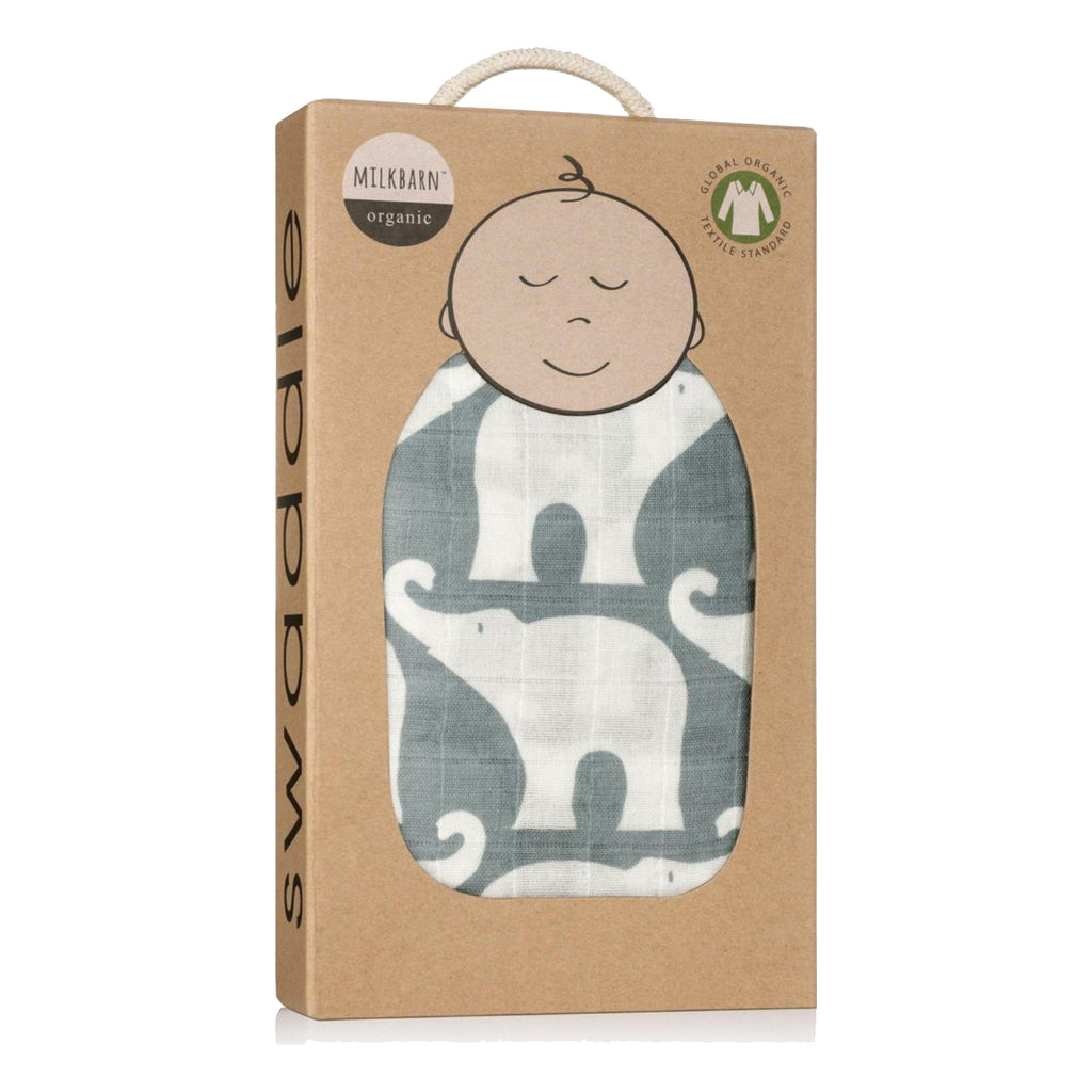 Blue Elephant Swaddle- Milkbarn
