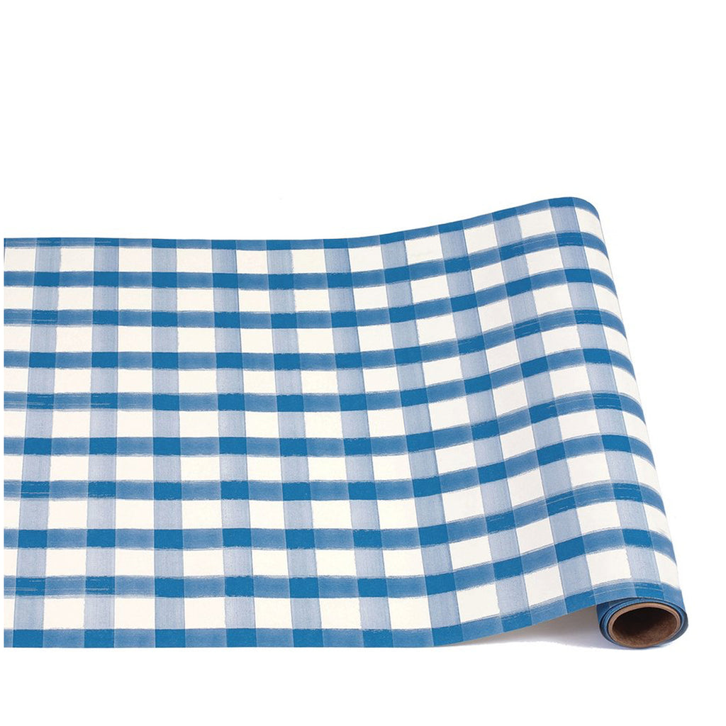 blue plaid: paper table runner