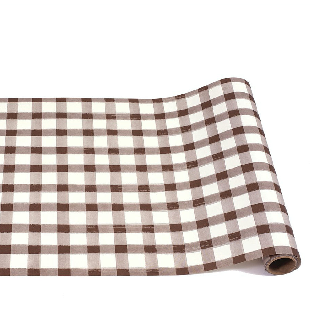 brown painted check: paper table runner
