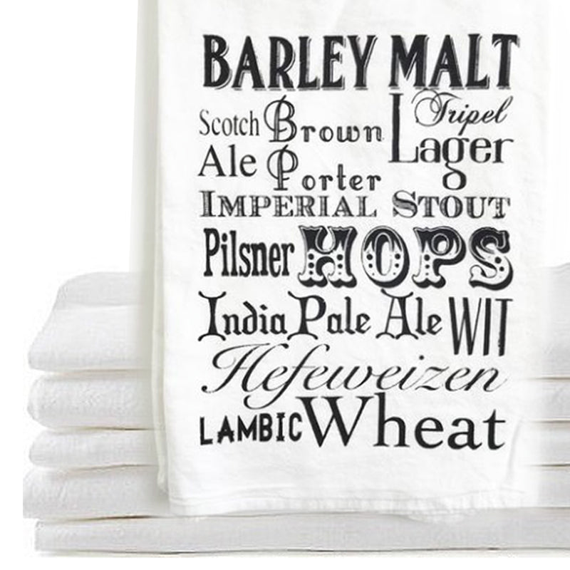 flour sack towel - Beer words...