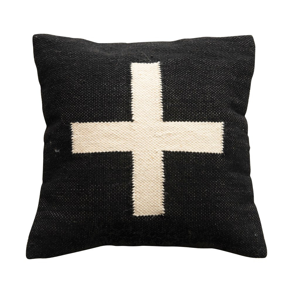 swiss cross b/w pillow